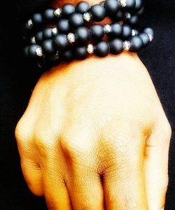 Black Bead Bracelet for men